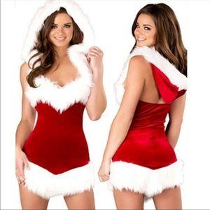 Sexy Christmas Beauty Hooded Dress Costume